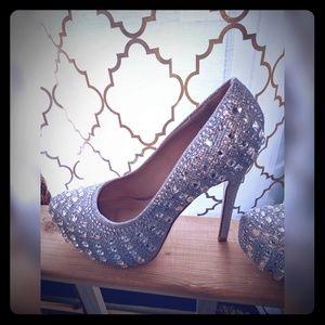 Deb Silver Rhinestone High Heels